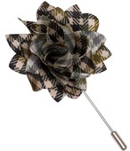 LAPEL FLOWERS - SADDLE PLAID - ARMY GREEN