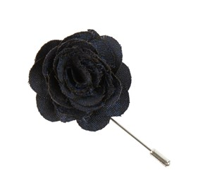 Navy Fall Wool Houndstooth Lapel Flower Pin