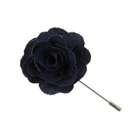 Navy Fall Wool Solid Lapel Flower Pin