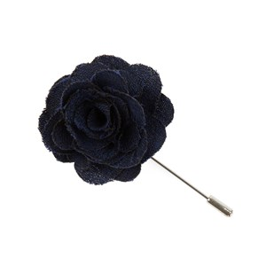 fall wool solid navy lapel flower pin
