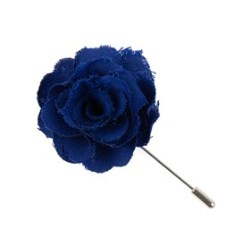 Royal Blue Fall Wool Solid Lapel Flower Pin