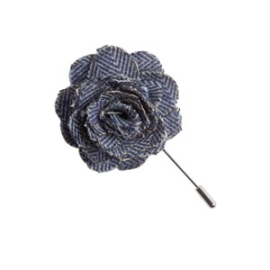 brushed cotton herringbone classic blue lapel flower pin