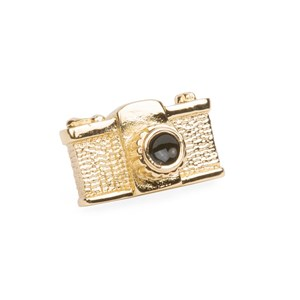 camera gold lapel pin