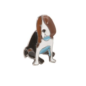 beagle brown lapel pin