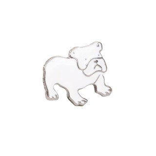 bulldog white lapel pin
