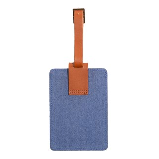 leather luggage tag blue gifting