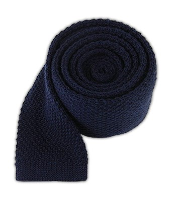 Navy Knit Solid Wool Tie