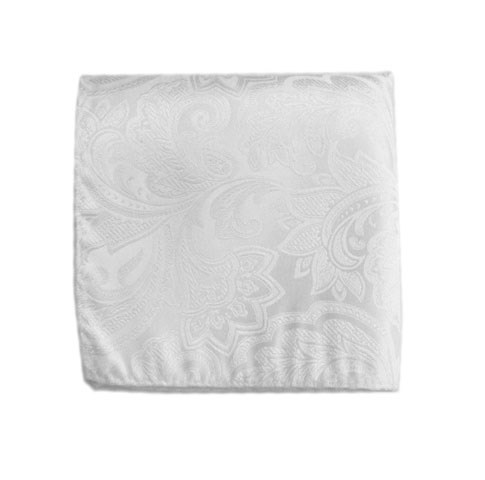 White Organic Paisley Pocket Square