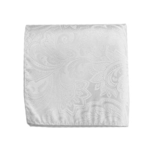 organic paisley white pocket square