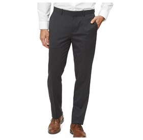 Charcoal Solid Wool dress pants