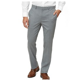 Light Grey Solid Wool dress pants