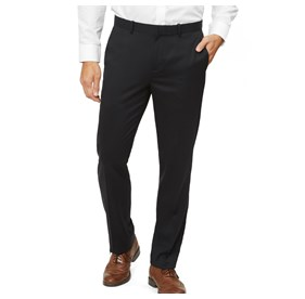 Black Solid Wool dress pants