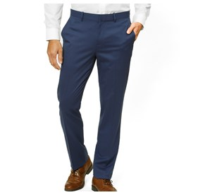 Bright Navy Solid Wool dress pant