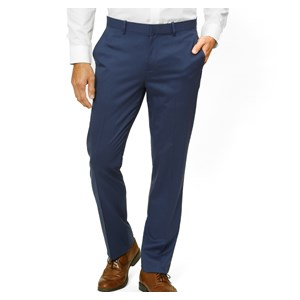 solid wool bright navy dress pants