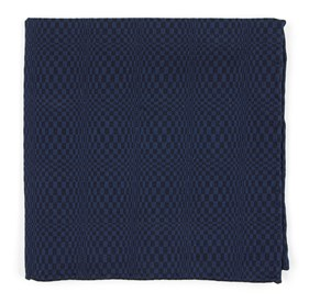 Deep Serene Blue Check List by Dwyane Wade pocket square