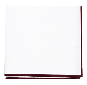 Burgundy White Cotton With Border pocket square
