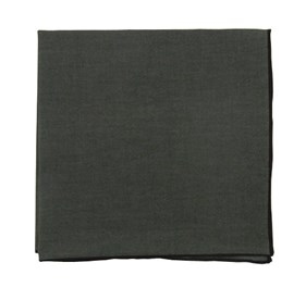 Charcoal Solid Color Cotton With Border pocket square