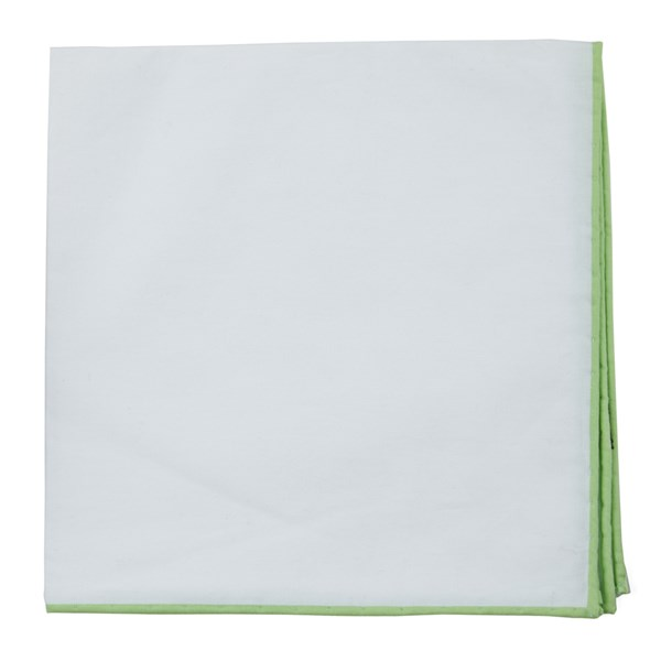 Apple Green White Cotton With Border Pocket Square