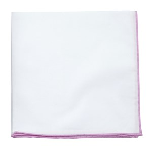 white cotton with border pink pocket square