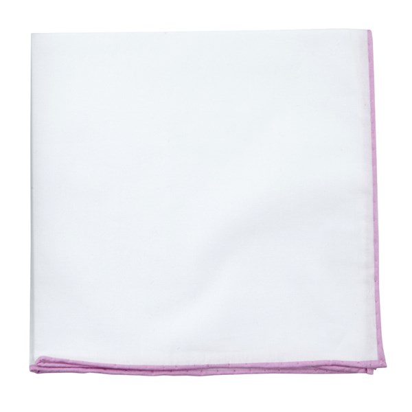 Pink White Cotton With Border Pocket Square