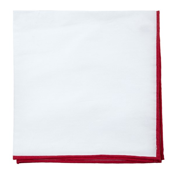 Red White Cotton With Border Pocket Square