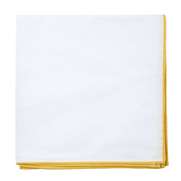 Yellow Gold White Cotton With Border Pocket Square