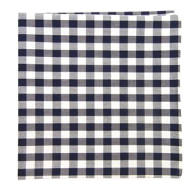 Cotton Table Plaid Navy pocket square