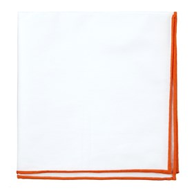 Tangerine White Cotton With Border pocket square
