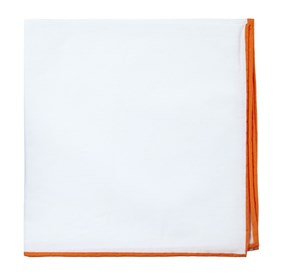 White Cotton With Border Orange pocket square