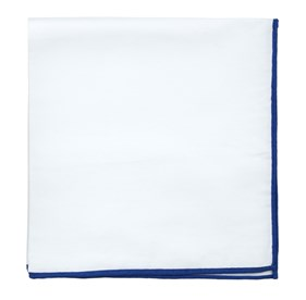 Royal Blue White Cotton With Border pocket square
