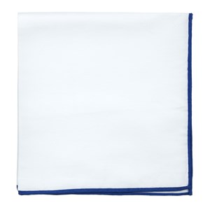 white cotton with border royal blue pocket square