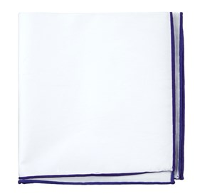 White Cotton With Border Plum pocket square