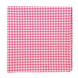 Novel Gingham Hot Pink Pocket Square