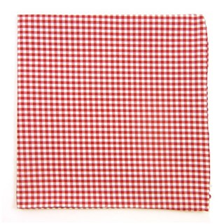Petite Gingham Red Pocket Square