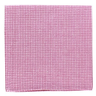 New Seersucker Gingham Pink Pocket Square