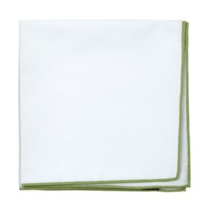 white cotton with border moss pocket square