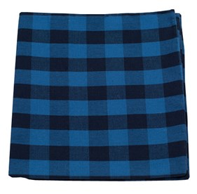 Lionel Plaid Blues pocket square