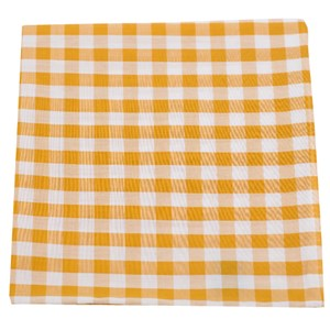 cotton table plaid mustard pocket square