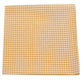 Mustard Petite Gingham pocket square