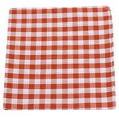 POCKET SQUARES - COTTON TABLE PLAID - BURNT ORANGE