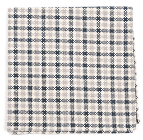 Charcoal Canoe Checks pocket square