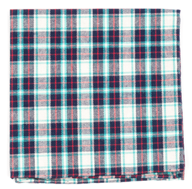 Turquoise Central Park Plaid pocket square