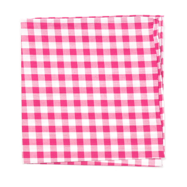 Hot Pink Classic Gingham Pocket Square