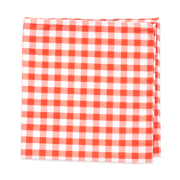 Orange Classic Gingham Pocket Square