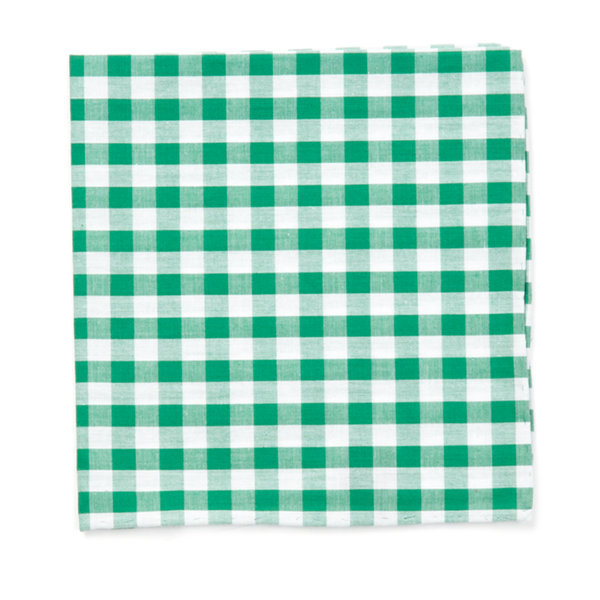 Kelly Green Classic Gingham Pocket Square