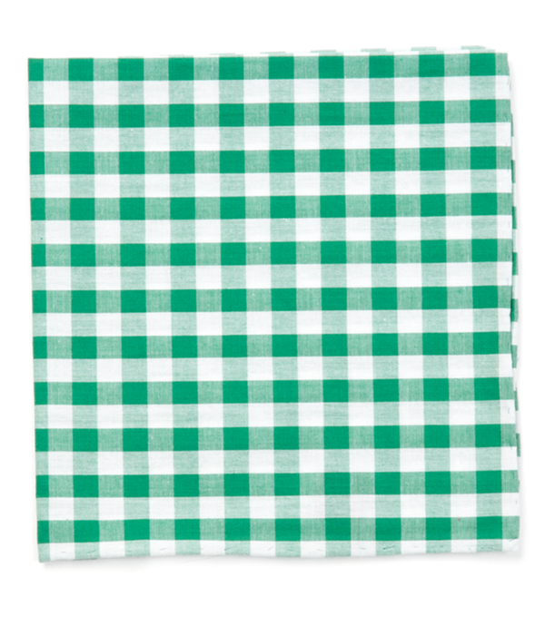 Classic Gingham Kelly Green Pocket Square