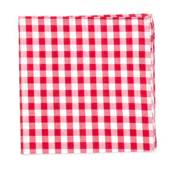 Red Classic Gingham Pocket Square