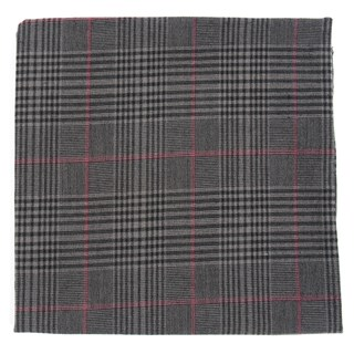 agent plaid charcoal pocket square