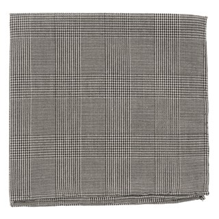 Cotton Glen Plaid Black Pocket Square