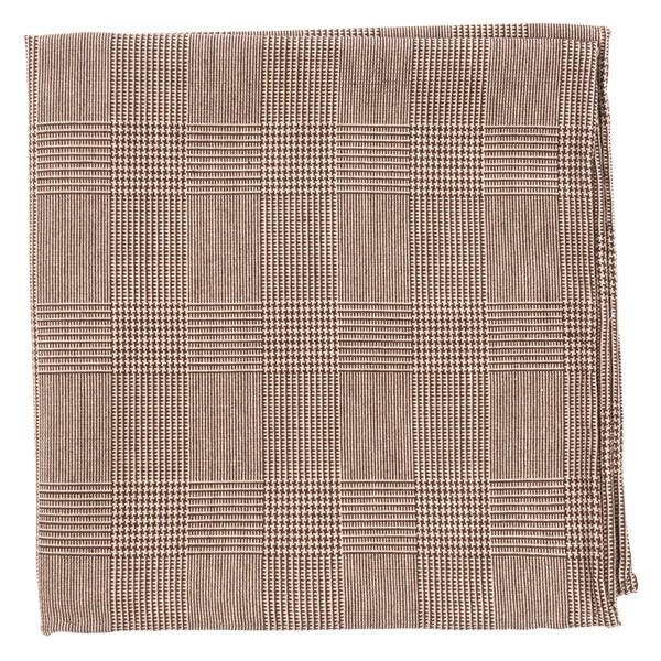 Cotton Glen Plaid Brown Pocket Square